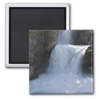 Sunlight On Waterfalls On The Side Of A Mountain Square Magnet
