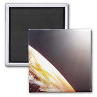 Sunlight over the Earth Square Magnet