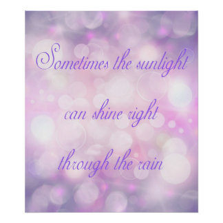 Sunlight Through Rain Inspirational Purple Poster