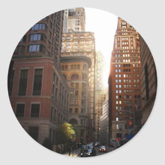 Sunlight Through Skyscrapers, New York City Round Sticker