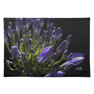 Sunlit Blooming Purple Agapanthus, African Lily Placemats