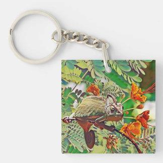 Sunlit Chameleon Key Ring