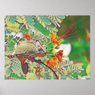 Sunlit Chameleon Poster