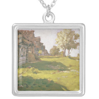 Sunlit Day. A Small Village, 1898 Silver Plated Necklace