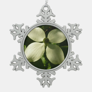 Sunlit Dogwood Blossom White Spring Flower Pewter Snowflake Decoration