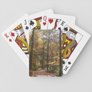 Sunlit Fall Trail in Laurel Hill State Park Playing Cards
