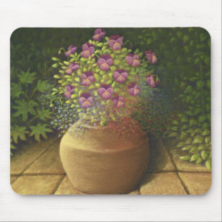 Sunlit Pansies and Lobelia in Pot Mouse Pad