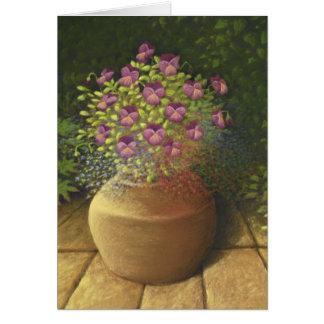 Sunlit Pansies and Lobelia in Terracotta Pot Card