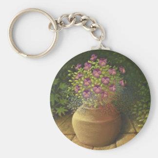 Sunlit Pansies and Lobelia in Terracotta Pot Key Ring