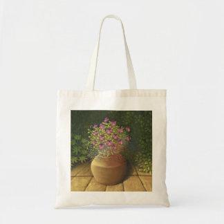 Sunlit Pansies and Lobelia in Terracotta Pot Tote Bag