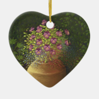 Sunlit Pansies & Lobelia in Pot Heart Best Friends Christmas Ornament