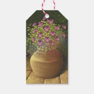 Sunlit Pansies & Lobelia in Terracotta Pot, Pastel Gift Tags