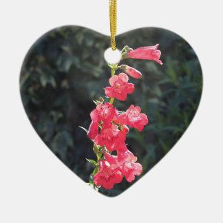 Sunlit Pink Penstemon Flower Bridesmaid Wedding Ceramic Heart Decoration