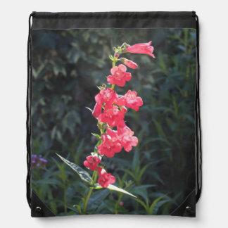 Sunlit Pink Penstemon Flower Drawstring Bag