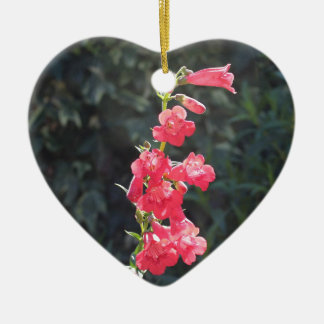 Sunlit Pink Penstemon Flower Girl Wedding Ceramic Heart Decoration