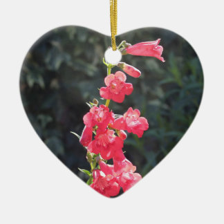 Sunlit Pink Penstemon Flower Happy Mothers Day Ceramic Heart Decoration