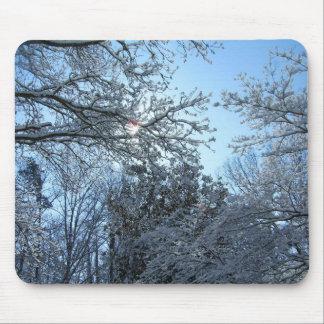 Sunlit Snowy Trees Starburst Blue Sky Winter Mouse Pad