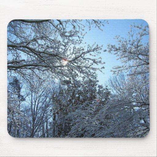 Sunlit Snowy Trees Starburst Blue Sky Winter Mousepads