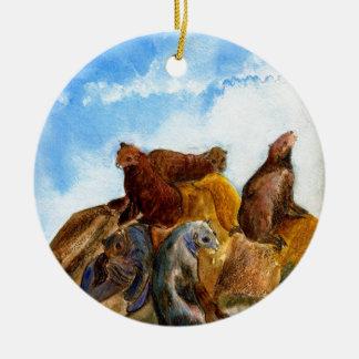 Sunning Harbor Seals - watercolor Round Ceramic Decoration