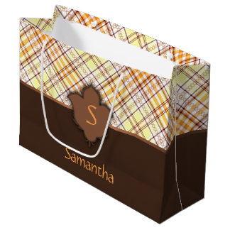 Sunny and Brown Plaid with Floral Element Large Gift Bag