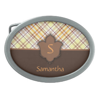 Sunny and Brown Plaid with Floral Element Oval Belt Buckle