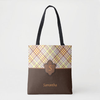 Sunny and Brown Plaid with Floral Element Tote Bag