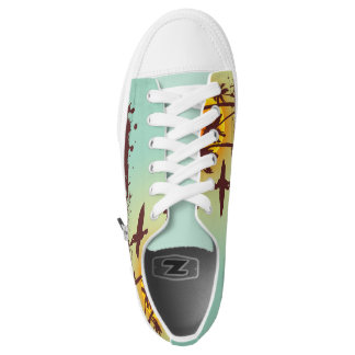 Sunny beach with palm surfer in Hawaii Low Tops