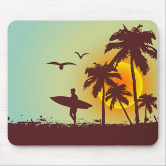 Sunny beach with palm surfer in Hawaii Mouse Mat