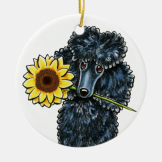 Sunny Black Miniature Poodle Personalized Christmas Ornament