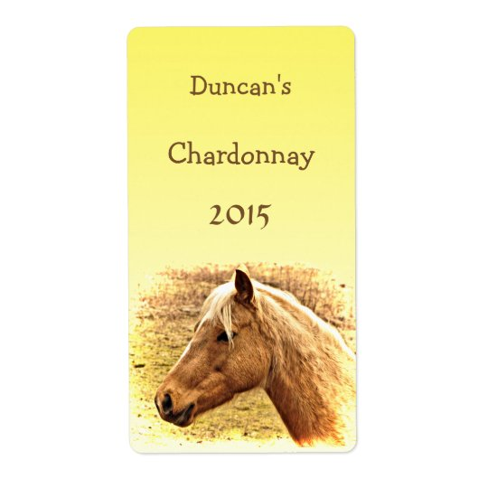 Sunny Blonde and Brown Horse Animal Wine Label Shipping Label