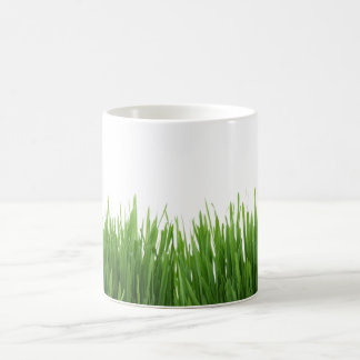 Sunny bright green grass photograph print coffee mug