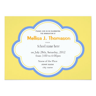 Sunny bright yellow and blue summer graduation personalized invitations