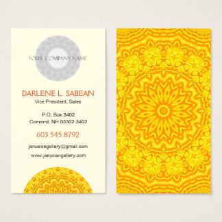 Sunny Bright Yellow Mandala Kaleidoscope Business Card