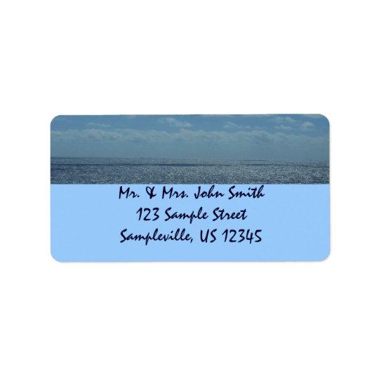 Sunny Caribbean Sea Blue Ocean Label