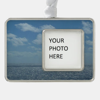 Sunny Caribbean Sea Blue Ocean Silver Plated Framed Ornament