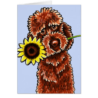 Sunny Chocolate Labradoodle Off-Leash Art™ Greeting Card