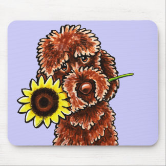 Sunny Chocolate Labradoodle Off-Leash Art™ Mouse Mat