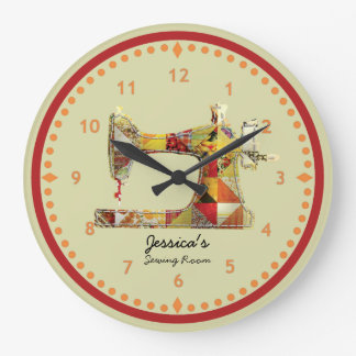 Sunny Crazy Quilt Sewing Room Wall Clock
