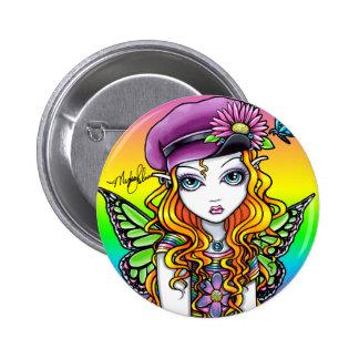 Sunny Cute Rainbow Butterfly Fairy Button