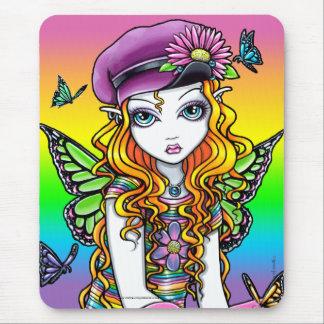 Sunny Cute Rainbow Butterfly Fairy Mousepad