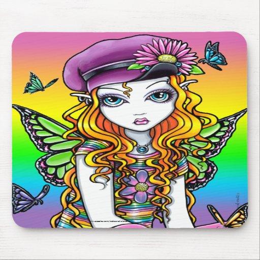 """""""Sunny"""" Cute Rainbow Butterfly Fairy Mousepad"""