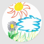 sunny day classic round sticker