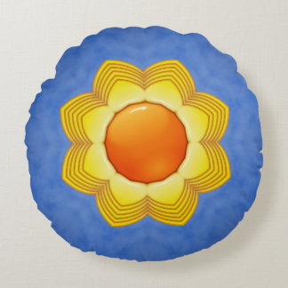 Sunny Day Kaleidoscope Pattern Round Pillow
