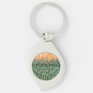 Sunny Day Silver-Colored Swirl Key Ring