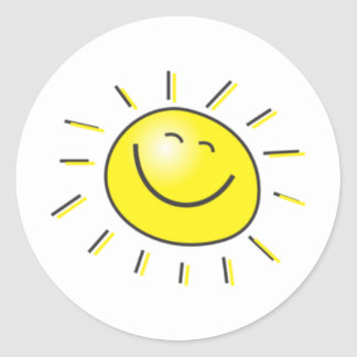 Sunny day, smiling sun, Day to smile! Round Sticker