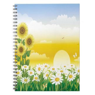 Sunny Day, Sunflowers and Flowers Spiral Note Book