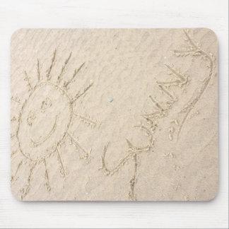 Sunny days smiley face sun on the beach mouse mat