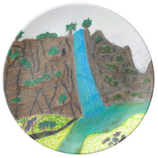 Sunny Falls Cliff and Meadow Porcelain Plate