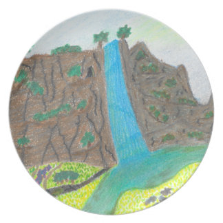 Sunny Falls Cliff and Meadow Scenic Melamine Plate