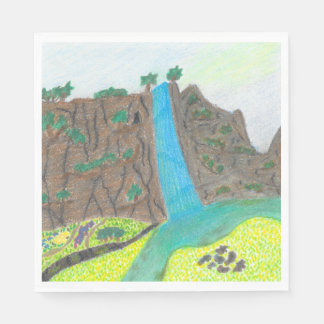 Sunny Falls Cliff and Meadow Scenic Set of Napkins Paper Napkin